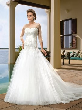 Extravagant 3/4-Length Sleeves Beading Court Train Wedding Dress