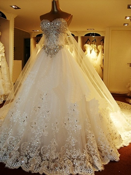 Ericdress Luxury Diamond Crystal Wedding Dress with Train