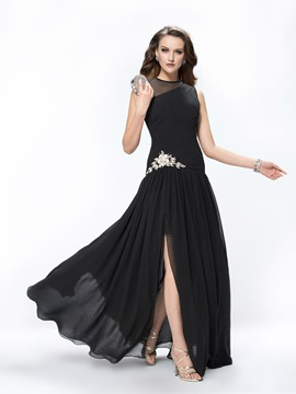 Concise A-Line Beading Split -Front Floor Length Prom Dress