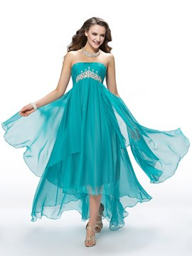 Fantastic A-Line Asymmetry Empire Sweep-Train Crystal Prom Dress