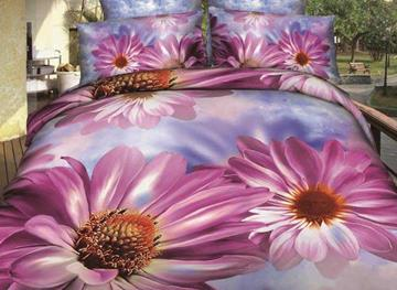 3D Purple Painted Daisy Printed Cotton 4-Piece Bedding Sets/Duvet Covers