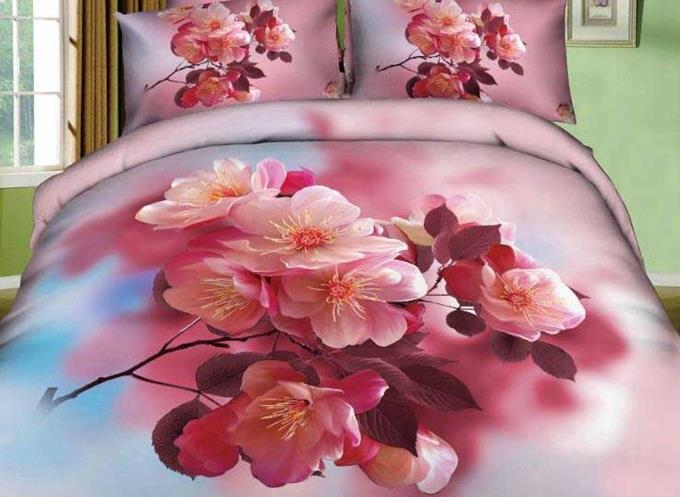 3D Pink Cherry Blossom Printed Cotton 4-Piece Bedding Sets/Duvet Covers