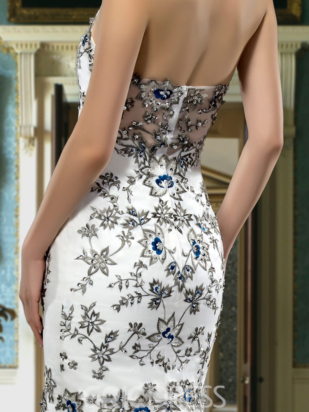 Fatanstic Sweep Embroider Zipper-up Sweetheart Neck Mermaid Wedding Dress