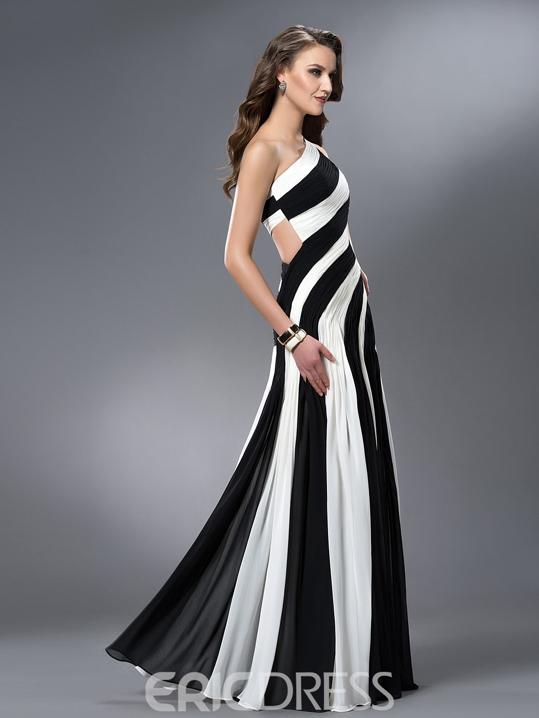 Ericdress Sheath One-Shoulder Ruched Evening Dress