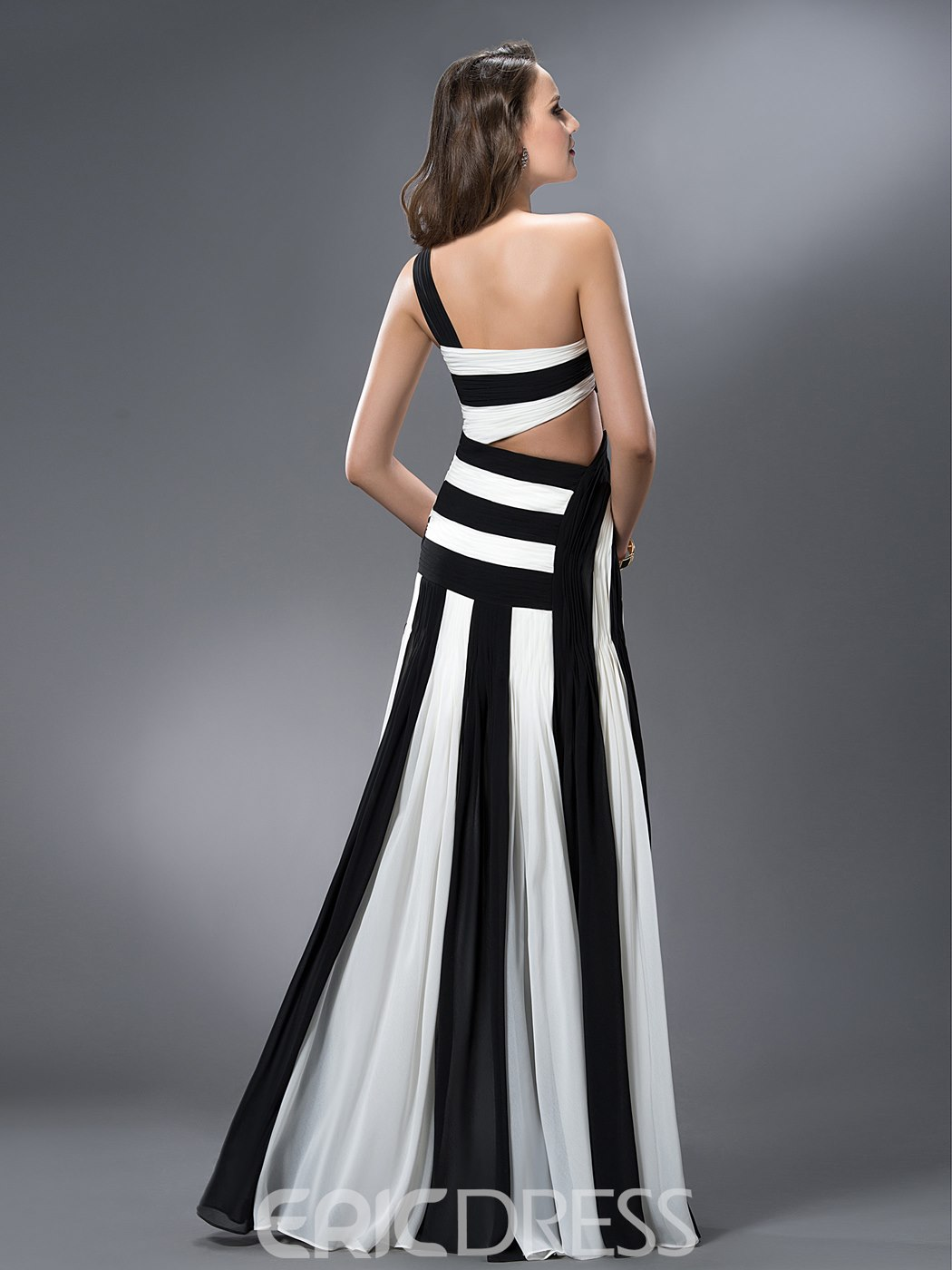 Ericdress Trumpet One-Shoulder Ruched Hollow Out Evening Dress