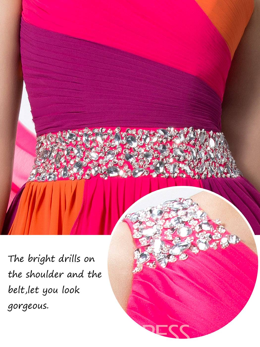 Ericdress Colourful One-Shoulder Beading Prom Dress