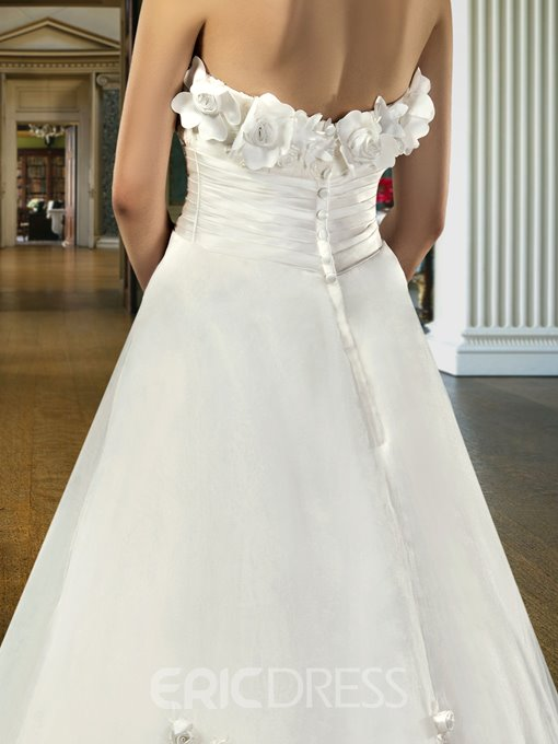 Classical A-Line Strapless Flowers Ankle-Length Charming Wedding Dress