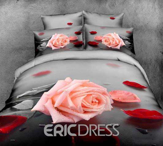 3D Pink Rose and Red Petals Printed Cotton 4-Piece Bedding Sets/Duvet Cover