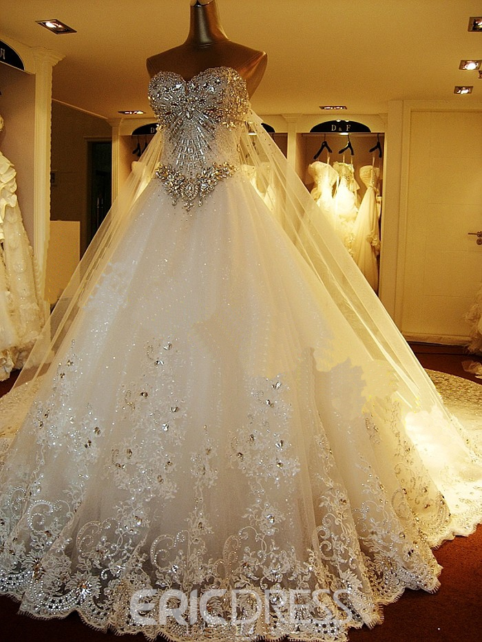 4d02281337 Ericdress Strapless Luxury Diamond Crystal Wedding Dress with Long Train