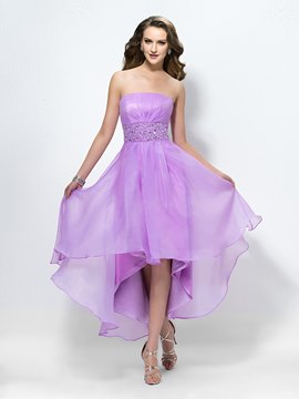 Charming Elegant Strapless Beading Zipper-Up Cocktail Dress