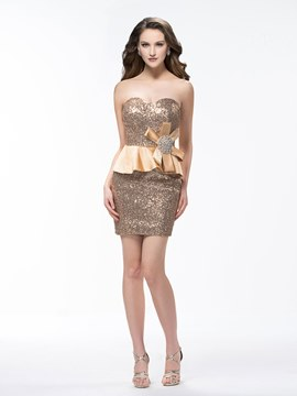 Sexy Elegant Sequins Strapless Flower Column Cocktail Dress