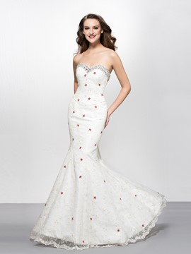 Mermaid/Trumpet Sweetheart Beading Embroidery Evening Dress