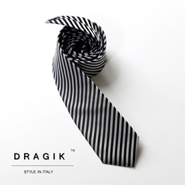 Ericdress Contrast Color Black&White Striped Men's Tie