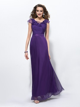 Charming A-Line V-Neck Pleats Zipper-Up Evening Dress