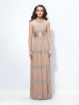 Graceful Sheath/Column Strapless Tassels Evening Dress