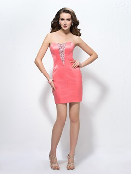 Concise Charming Beading Strapless Column Cocktail Dress