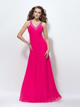 Charming A-Line V-Neck Sequins Prom Dress