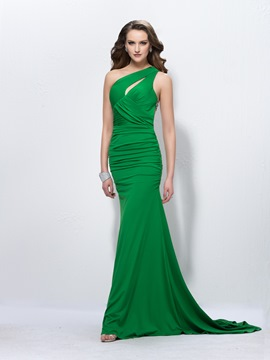 Affordable Trumpet One-Shoulder Beading Ruched Court Train Prom Dress