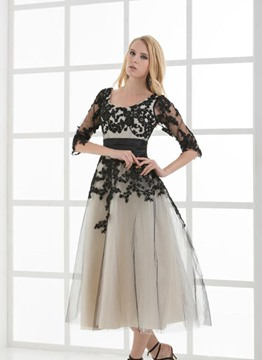 Vintage Half Sleeves Tea-Length A-Line Lace-up Evening Dress