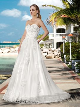 Strapless Beading Zipper-Up Sweep/Brush Train Wedding Dress