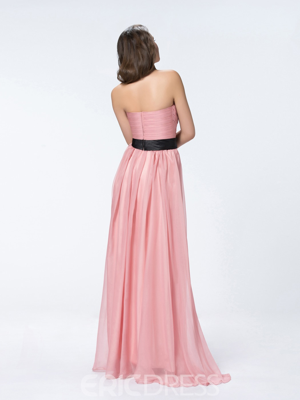 Strapless Flower A-Line Floor Length Bridesmaid Dress