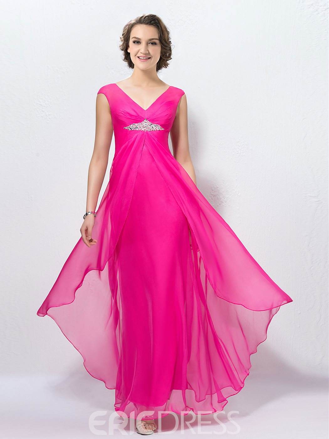 Glamorous A-Line V-neck Sequins Zipper-up Prom Dress