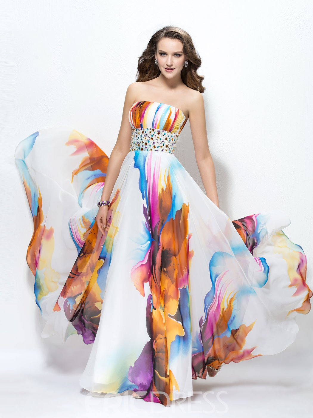 Attractive Contrast Color Strapless A-Line Floor Length Prom Dress
