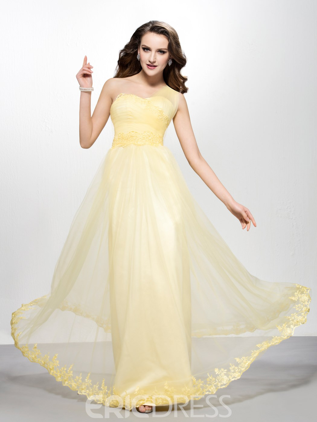 Modern A-line Floor-length One-shoulder Appiques Zipper-up Prom Dress