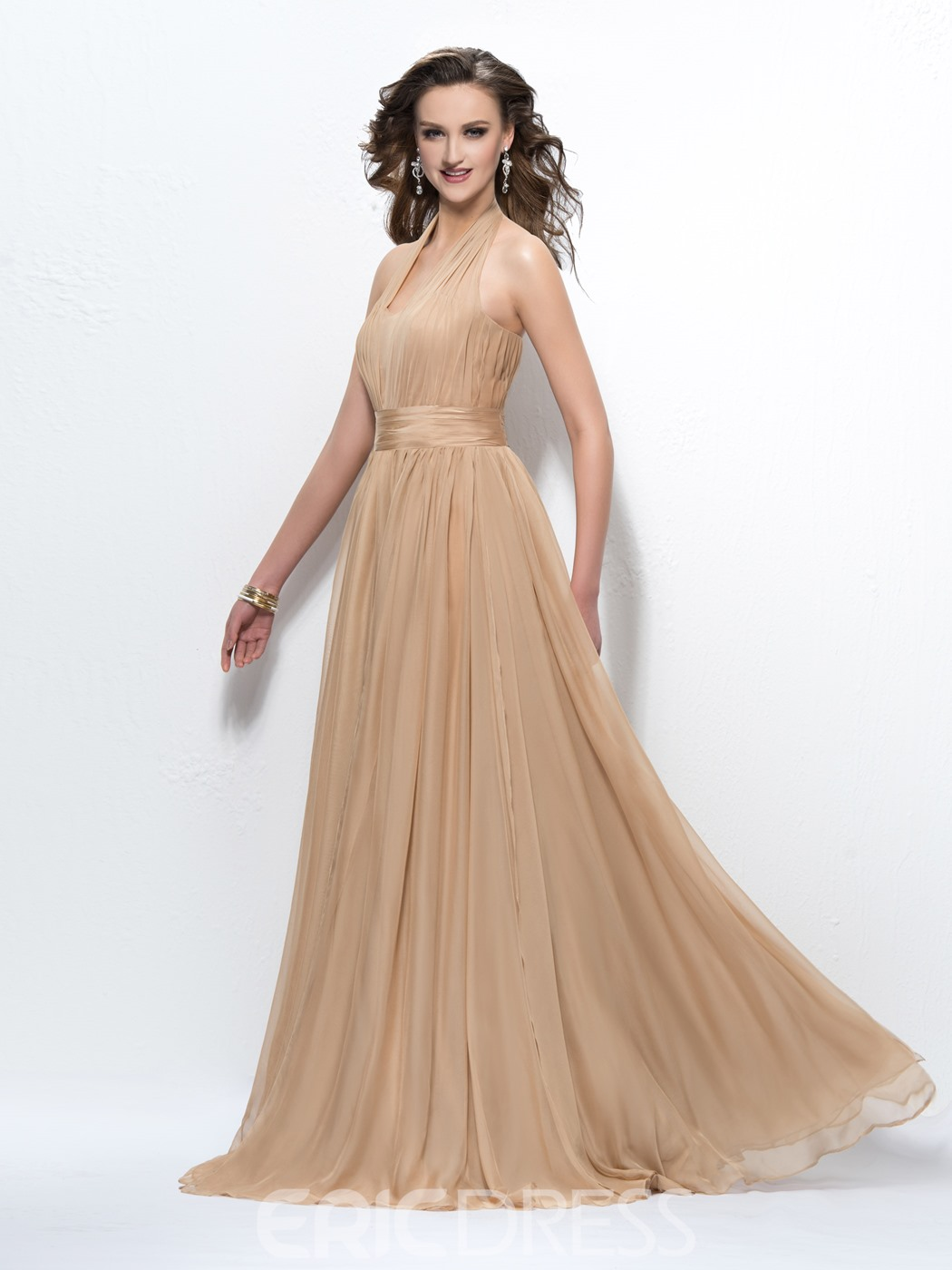 Elegant Charming Halter Beading Zipper-Up V-Neck A-Line Floor Length Prom Dress