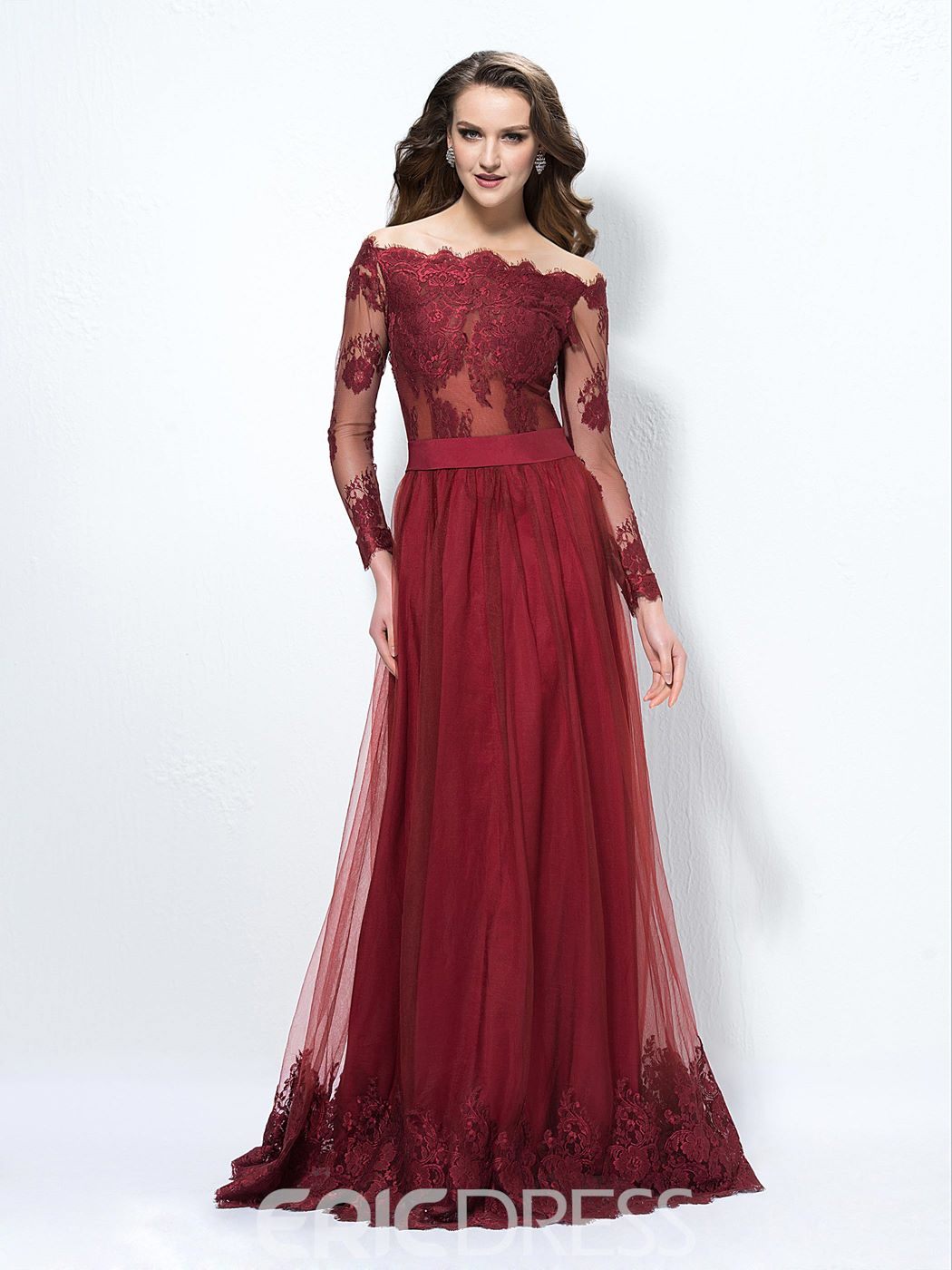 Ericdress Off-The-Shoulder A-Line Lace Button Evening Dress