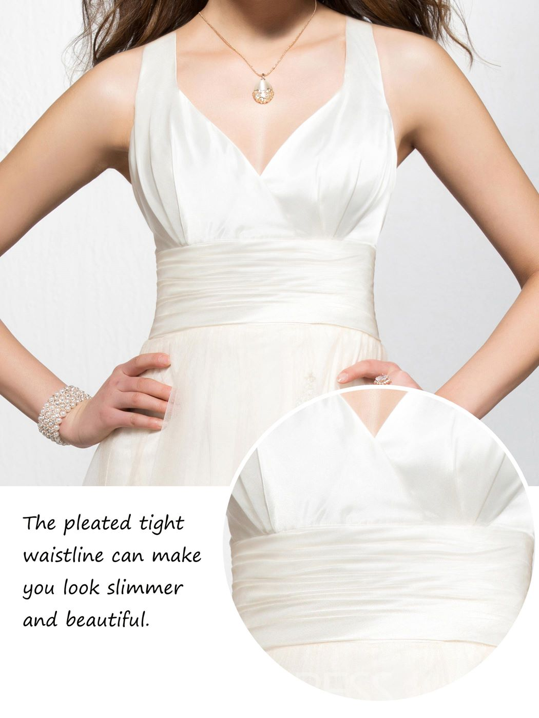 Pretty Empire Appliques V-neck Sleeveless Floor-length Prom Dress