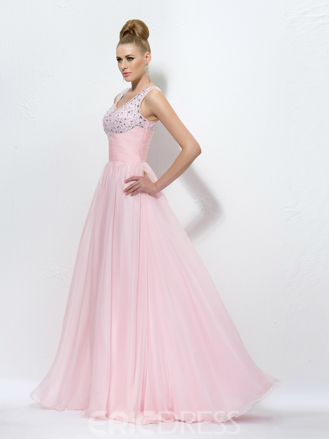 Dramatic Straps Beading V-Neck Zipper-Up A-Line Floor Length Prom Dress ed Independently