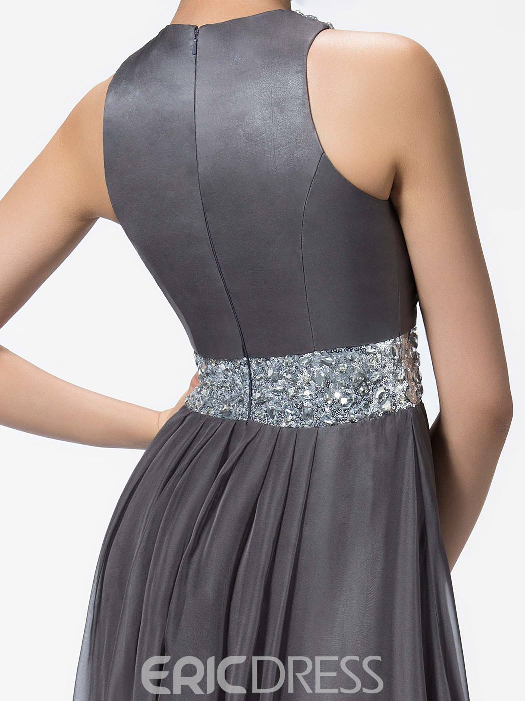 Ericdress Elegant A-Line Jewel Beading Split-Front Evening Dress