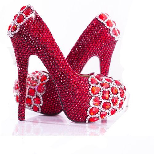 Shinning Red Rhinestone High Heel Wedding Shoes