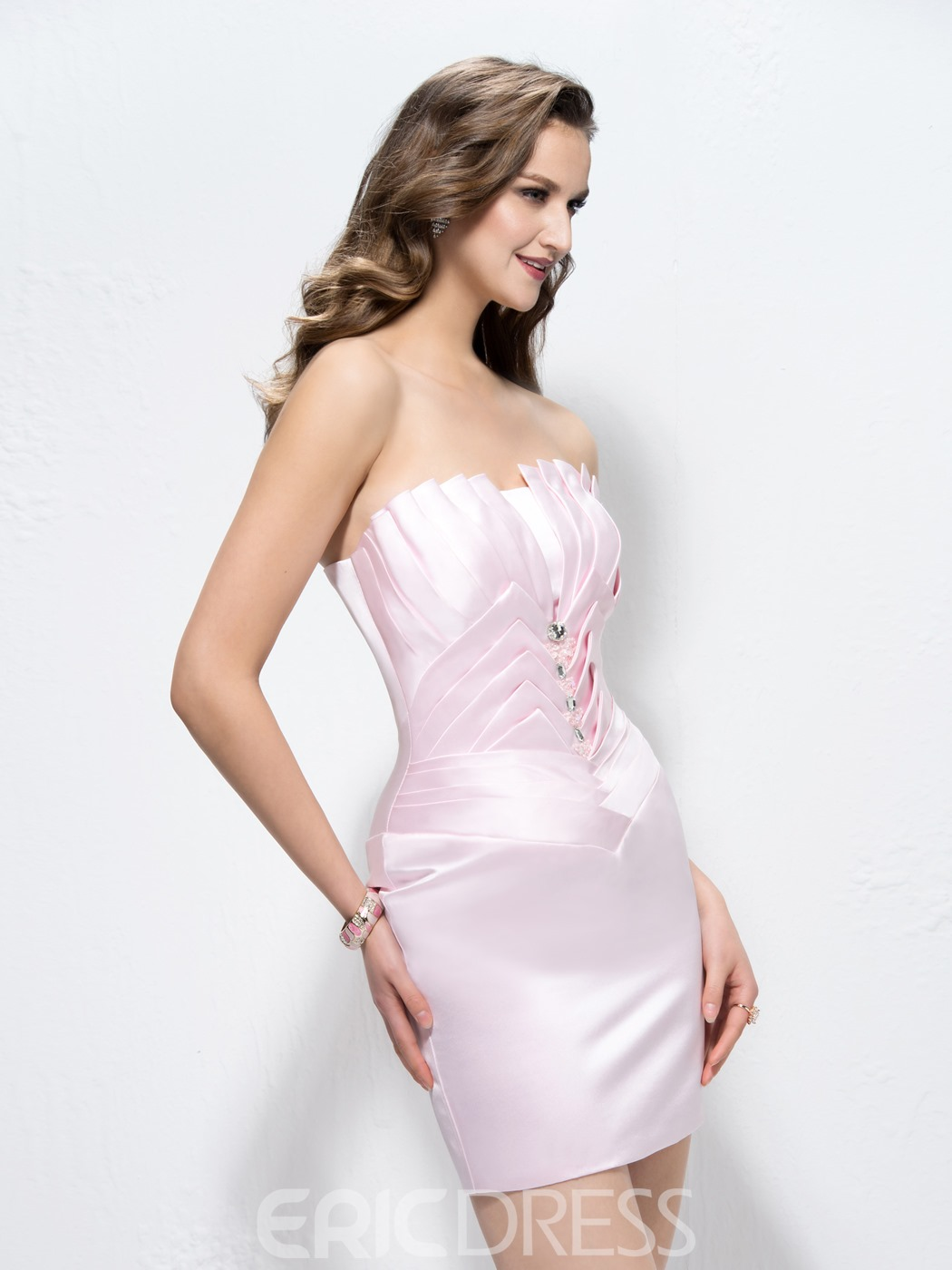 Elegant Concise Beading Strapless Column Cocktail Dress