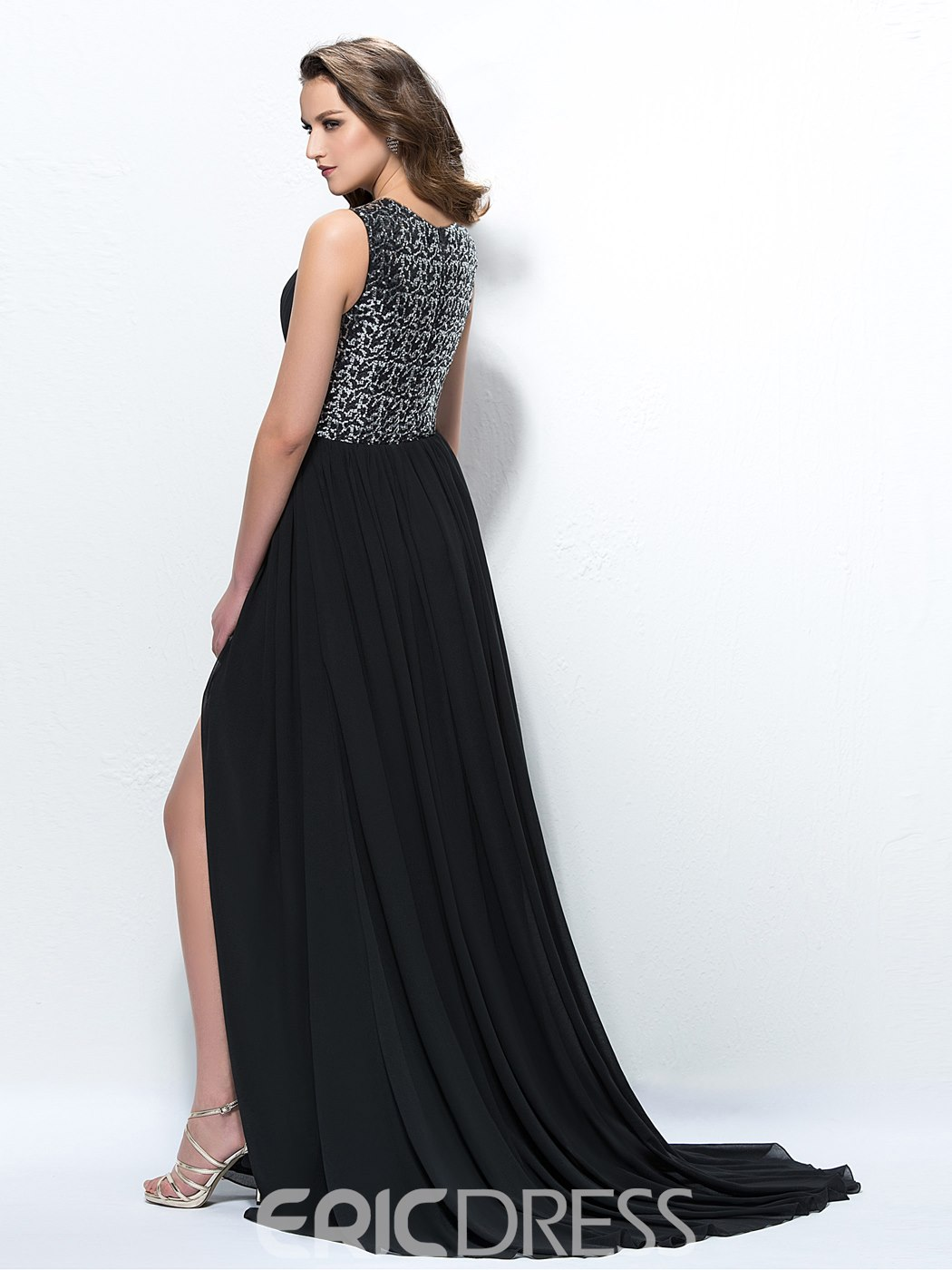 Ericdress A-Line Empire Beaded Black Evening Dress With Slit Side