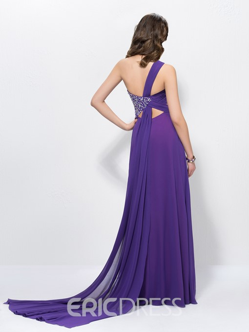 Charming A-Line One Shoulder Sequins Empire Prom Dress