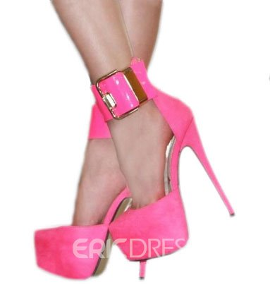 Gorgeous Rose Coppy Leather Ankle Strap High Heel Shoes
