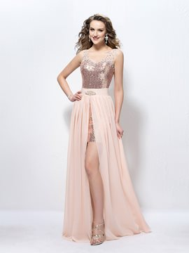 Fashion Straps Beading Sequins Sheath Prom Dress