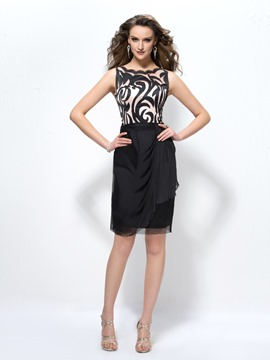 Fashion Office Lady Scoop V-Back Column Cocktail Dress