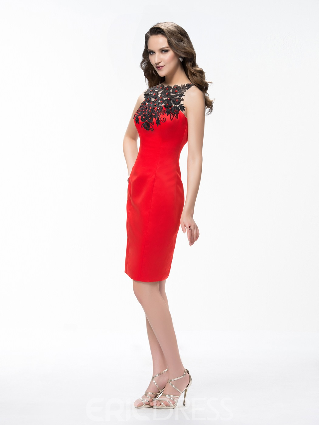 Charming Applique Rhinestone Column Cocktail Dress