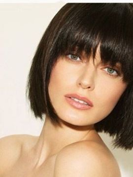 Ericdress Short Straight Bob Capless Wig Human Hair With Full Bangs 10 Inches