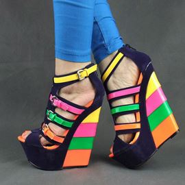 Colorful Peep-toe Wedge Sandals with Buckle