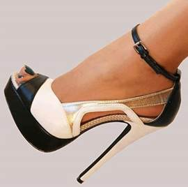 Fashionbale Black & White Contrast Colour Stiletto Sandals