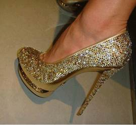 Fashioanble Golden Coppy Leather Platform High Heel Shoes with Amazing Giltter