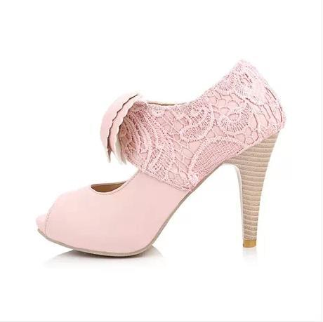 Pink Sweet Bowknot Peep-toe Lace Flowers Sandals