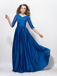 Image of Charming V Neck A-Line Appliques Sequins Half Sleeves Floor-Length Mother of the Bride Dress