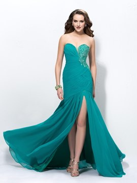 Superb Sweetheart Trumpet Beading Split-Front Ruched Prom Dress