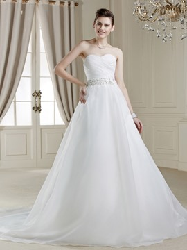 Sweetheart Neck Button Flower Court Train Attractive Wedding Dress
