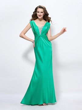 Charming Floor-Length Beadings Straps Zipper-Up Evening Dress